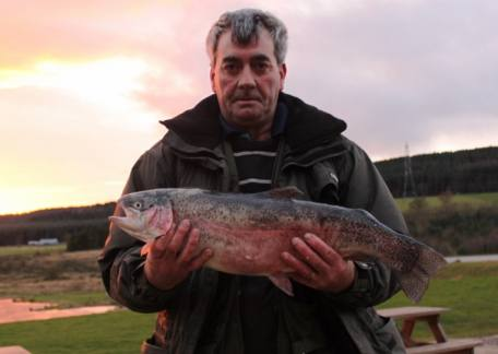 Thomas Looney from Consett netted this 8lb rainbow on a green/blue damsel