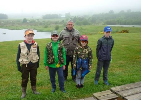 Some of the Thrunton Juniors before a lesson with Barry Mitchell