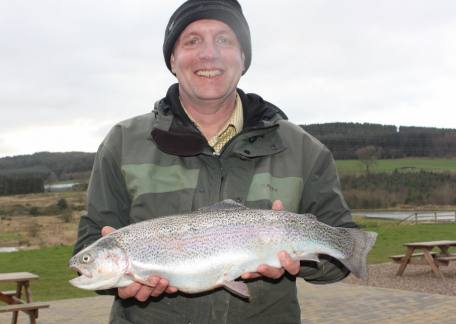 Amble angler Ali Fraser landed this 5lb 2oz rainbow on a PTN from Coe Crag lake