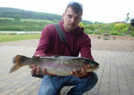 Martin Bone netted this 4lb 14oz trout on an olive klinkhammer from Long Crag