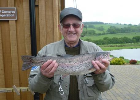 Bob Stewart from Bedlington landed this 4lb 13oz rainbow from Long Crag on a FAB