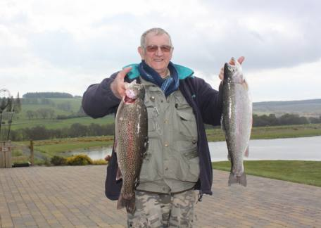 Bob Stewart from Stakeford with 2 rainbows at 5lb 2oz and 4lb 7oz caught on a cats whisker