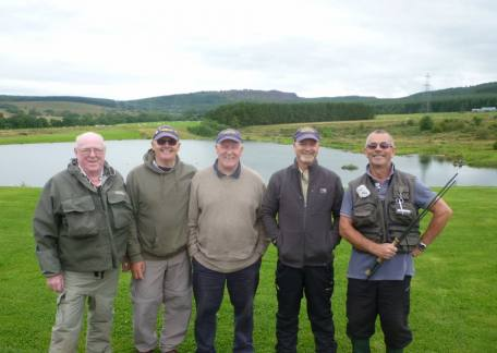 Some of the members of The Ladhope Fiahing Culb from Galashiels who visited Thrunotn this weekend