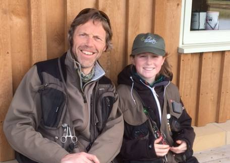 Father & Son, Dave and Charlie Cookson take a well earned break after the Troutmasters fish off