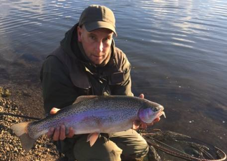 Rob Hall from Morpeth landed this beautiful 10lb+ rainbow from Long Crag lake on a yellow dancer