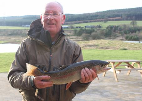 Paul Sands from Cramlington used an apps bloodworm to net this 4lb 8oz rainbow from Long Crag
