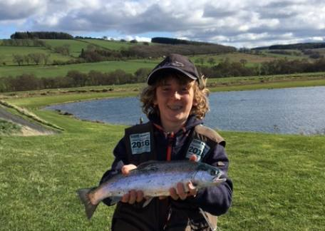 Thrunton Junior Matty Wilkinson with one of his trout landed on a yellow owl during a lesson with Steve McCann