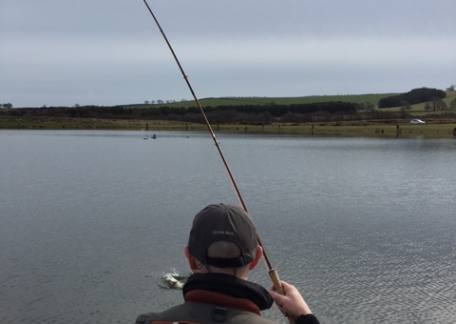 Andy Richmond with another  nice bend in his rod during the Troutmasters fish off