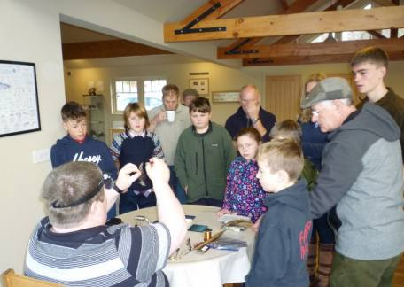 Paul Griffin demonstrating how to tie a fly to the Thrunton Juniors