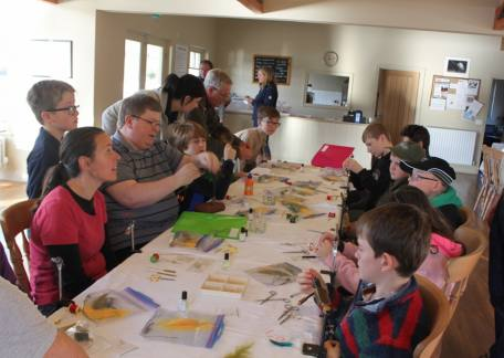 Thrunton Juniors concentrating during another fly tying session with Paul Griffin