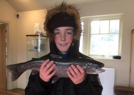10 year old William Wood from Harbottle landed this 3lb 3oz rainbow while fishing with his Grandad