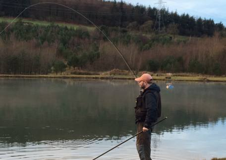 John Cowell from Newcastle into another of his 14 trout landed on flexi worms