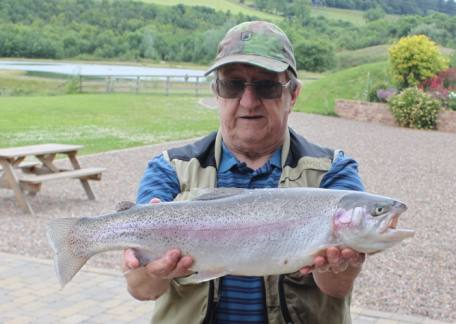 Alan Wailes netted this 5lb 4oz rainbow from Coe Crag lake on a black buzzer