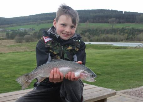 Troutmaster finals qualifier from Galashiels, 9 year old Fraser Hume used an Ally McCoist to net his first Thrunton fish