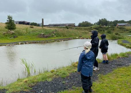 The wind and rain didn't deter the Burliston Family from catching their dinner